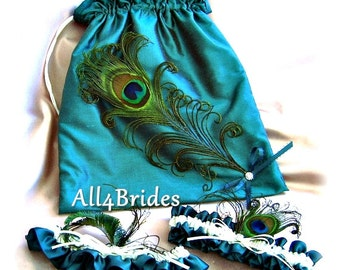 Bridal accessories, peacock weddings money dance bag and peacock feather garter set, Teal weddings