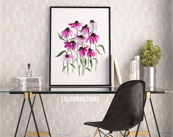Hand-painted Watercolor Print - Echinacea Bouquet: A Bright Floral Print with Modern Watercolor Florals