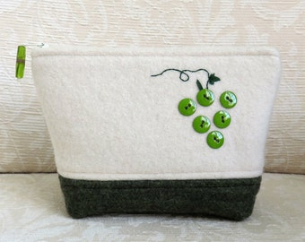 Green Grapes Zip Pouch, Eco Friendly Upcycled Sweater Wool Clutch
