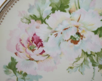 O&EG Royal Hand Painted and Gilded Roses Plate
