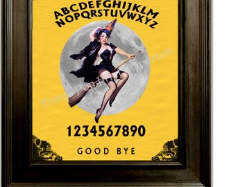 Witch Ouija Print 8 x 10 - Pin Up Art - Altered Art - Retro 50s Pinup on Ouija Board - Moon
