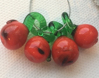 Lampwork Red Apple Cherry Tomato Fruit Beads (set of 4)