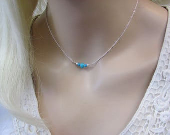Sterling Silver Turquoise Choker, Sleeping Beauty Turquoise Necklace, Arizona Turquoise Gemstone, December Birthstone, Blue Necklace