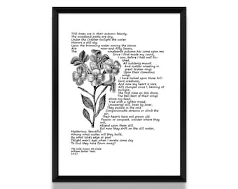 Poetry Print, William Butler Yeats, Poem, Poetry Print, Literature Poster