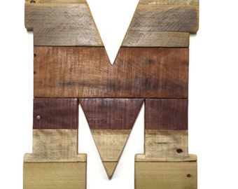 """Letter M, Reclaimed Pallet Wood, Rustic Home Decor, Wood Letters, Large Wood Letters, Sealed, Rustic Wedding, 16"""" x 12"""", wooden letters, 16"""""""