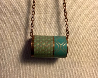 Copper Jewelry - Sage Green and Turquoise - Up Cycled Copper Pipe Pendant Necklace -Industrial Chic- Copper Chain