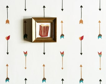 Removable Wallpaper // Multi Color Arrow Print // ADHERES to walls and shelves