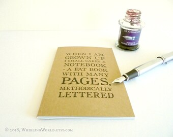 Pocket Journal - Ruled A6 Notebook for Writer | Virginia Woolf Quote Writing Book | Inspiring Gift for Aspiring Writer | Bookish Office Gift
