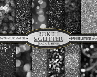 Silver Digital Paper: Black and Silver Glitter Paper, Silver Glitter Digital Paper, Bokeh Digital Paper, Bokeh Background, Black Glitter