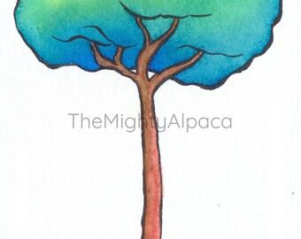 "Original watercolor ""Ocean Tree"", illustrations for children"