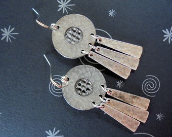 Rustic Hammered Silver Boho Earrings (4166)