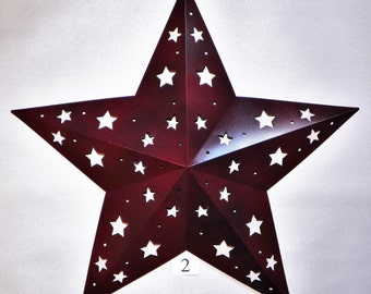 """RESERVED For BRENDA 18"""" Antiqued Wine Metal Star with Star Cutouts"""