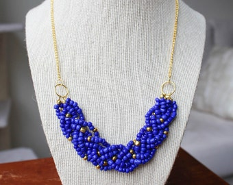 Royal Blue Statement Necklace with Gold Accents, Royal Blue Braided Bead Necklace, Royal Blue Multistrand Necklace, Gold Chain