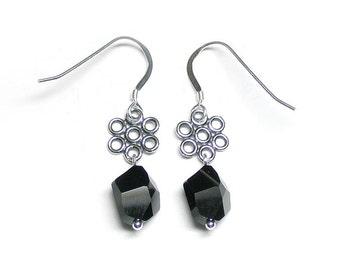Black cosmic crystal earrings, Swarovski crystal, black crystal, black earrings, sterling silver links, sterling silver earwires