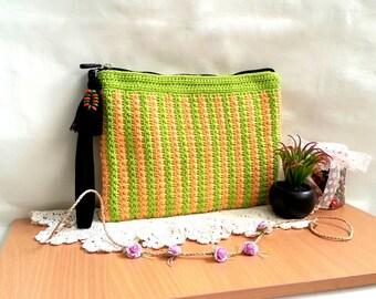 Crochet clutch|Zipper crochet bag|Bright green and orange|Accessory bag|Make up bag|Crochet handbag|Gift for her|Handmade clutch for women