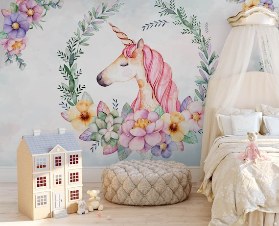 aquarell einhorn tapete baby m dchen schlafzimmer wand. Black Bedroom Furniture Sets. Home Design Ideas