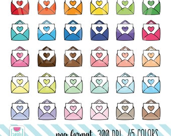 45 Doodle Happy Mail Clipart. Envelope Clipart. Personal and comercial use.