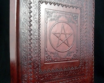 A4 / US Letter Size Ring Binder - Pagan Wicca Pentacle Symbol - Hand-Tooled Leather (US 'Notebook')