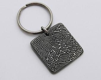 Fingerabdruck-Platz Schlüsselanhänger, Schlüsselanhänger, Memorial Schlüsselanhänger, rustikale Schlüsselanhänger, Schlüsselanhänger, handgefertigte Schlüsselanhänger, Fingerabdruck-Schlüsselanhänger für Männer