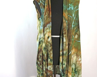 Lady's Medium Waterfall Vest, Ice Dyed Tie Dyed in Shades Of Green,  Agate Design.  Ready To Ship