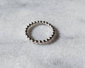 Heavy bead texture sterling silver band, stacker ring