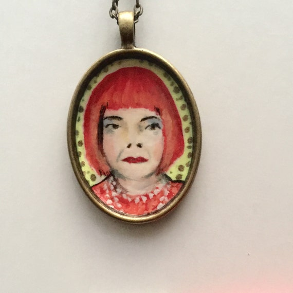 From List Of Names In Colo A Mini Portrait Of Lives: Hand Painted Art Pendant Yayoi Kusama Mini Artwork On Antique
