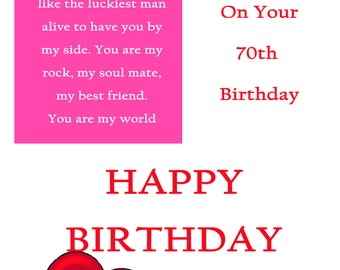 One I Love 70 Birthday Card with remaovable laminate