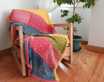 CANDY - knitted cotton Throw-cotton quilted afghan-handmade knitted cotton blanket-knitted cotton bed cover-handmade quilt