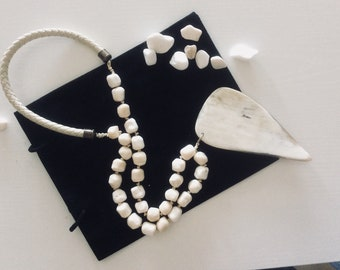 Heart  shaped  horn and white coral statement necklace