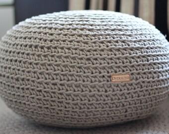 Organic, Crochet pouf, Pure Linen, knit pouf, Pouf ottoman, living room pouf, Bean bag chair, pouffe, Grey pouf, floor cushion, natural pouf