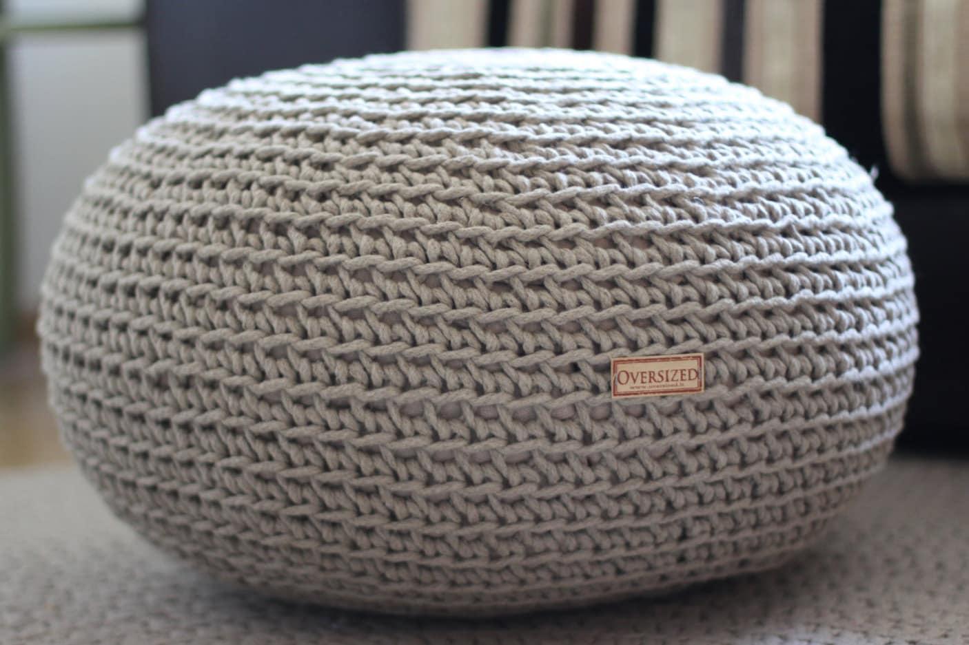 Organic Crochet pouf Pure Linen knit pouf Pouf ottoman