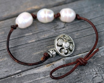 Knotted Leather Pearl Bracelet - Boho Chic Stackable Jewelry