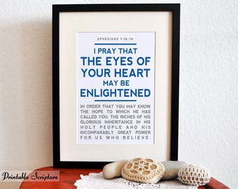 Ephesians 1:18-19. Open the Eyes of my Heart. 8x10in. DIY Printable Christian Poster. Bible Verse.