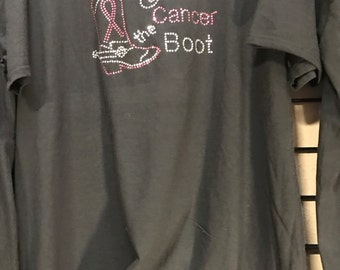 Give cancer the boot rhinestone
