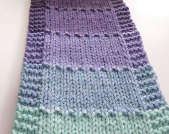 ARIEL Hand Knit Scarf for Her, Purple and Teal Striped Scarf, Knitted Scarf, Purple Scarf, Teal Scarf, Long Winter Scarf, Handmade Scarf
