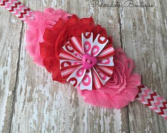 Valentine Baby Headband Valentine Headband Baby Heart Headband Pink and Red Heart Headband Heart Headband Valentine Headband