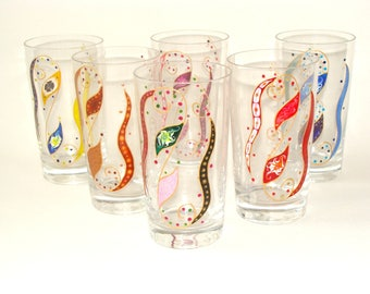 """""""Volutes and leaves"""" water glasses 6 multicolored, table art."""