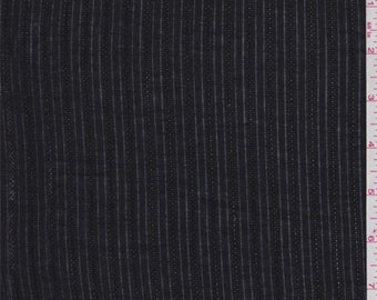 Black Burnout Stripe Cotton Shirting, Fabric By The Yard