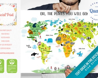 Animal world map etsy personalized childrens animals world map poster free shipping baby gift nursery world map childrens map poster kids world map poster gumiabroncs Image collections