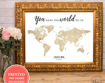 World map wedding guest book - You mean the world to us - alternative wedding guest book - 18x24 - 24x36
