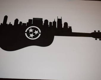 Nashville skyline with guitar