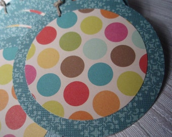 Oh Spots -  Round Gift Tag, Embellishment or Ornament - Set of 10 - Rainbow Dots