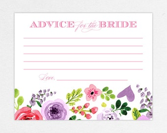 INSTANT DOWNLOAD Bridal Shower Advice Card, Printable Advice Card, DIY Advice Card, Printed Advice Cards, Watercolor, Floral, Pink, Michaela