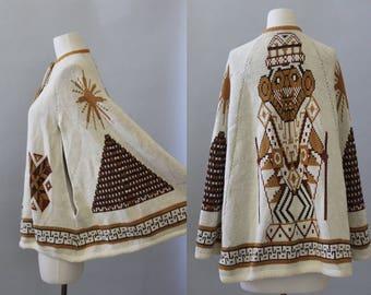 Vintage Poncho Cape 70s Aztec Tribal Geometric Ethnic Knit Poncho Autumn Capelet OS