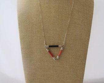 Triangle geometric pendant, handmade recycled vintage knitting needle necklace, colourful geometric pendant, upcycled jewellery