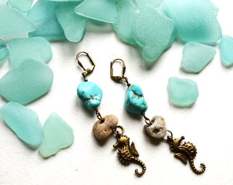 Brass Seahorse earrings Turquoise beads Hag stones beach inspired earrings Sea stones mermaid jewelry Magic earrings handmade Brass jewelry