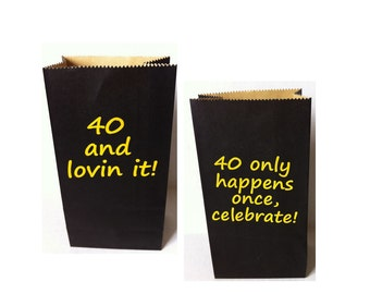 40th Birthday Party Favor Bags Small Black Set of 8
