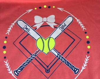 Simply Softball Crossed Bats Tee-CORAL