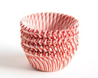 60 Red Stripe Mini Cupcake Liners, Mini Red Stripe Baking Cups
