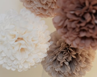 Neutral pom poms set - 15 mixed sizes - pompoms -very fluffy -wedding decor/ party  decorations /beige nursery decor/ cream and natural poms